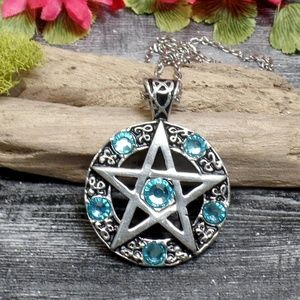Baby Blue Pentacle Necklace - Light Blue